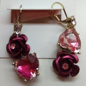 Betsey Johnson New Magenta Rose/Heart Earrings